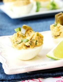 Jalapeno Deviled Egg on Plate