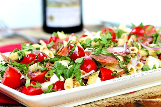 Salami Caprese Pasta Salad with Balsamic Dressing