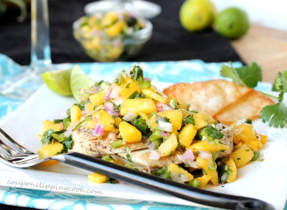 Grilled Chicken with Mango Key Lime Salsa on plate