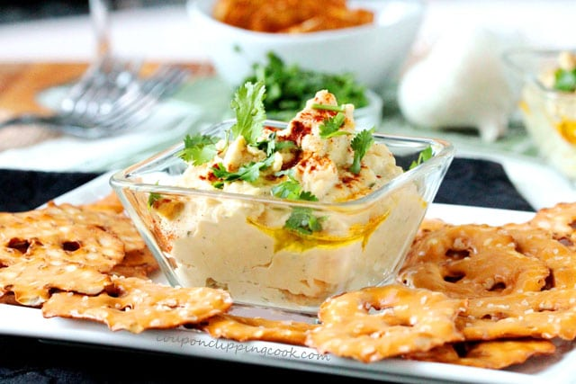 Cilantro Hummus with Pretzels on plate