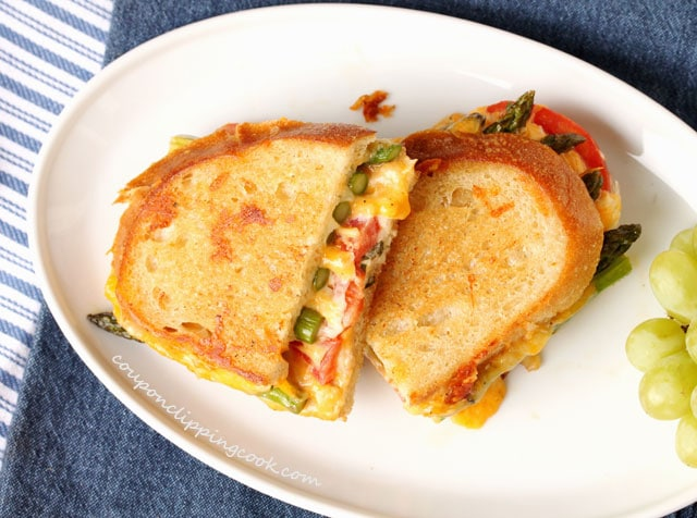 Roasted Asparagus and Tomato Garlic Bread Grilled Cheese on plate