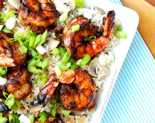 Grilled Browned Butter Shrimp with Rice on plate