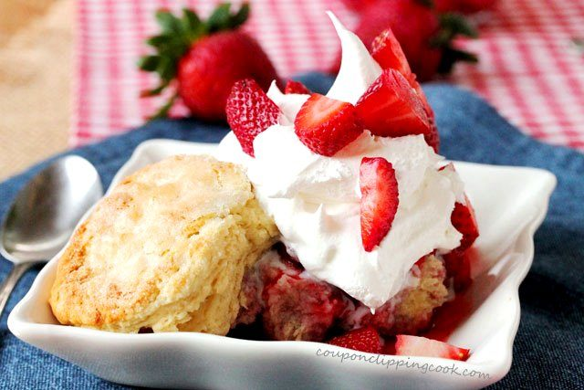 Sugar Coated Skillet Biscuits with Double Strawberry Shortcake