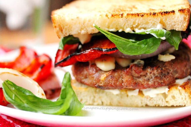 Grilled Turkey Burger with Blue Cheese and Basil on plate