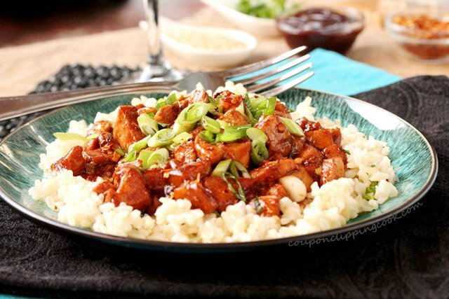 Easy Barbecue Chicken with Rice on plate