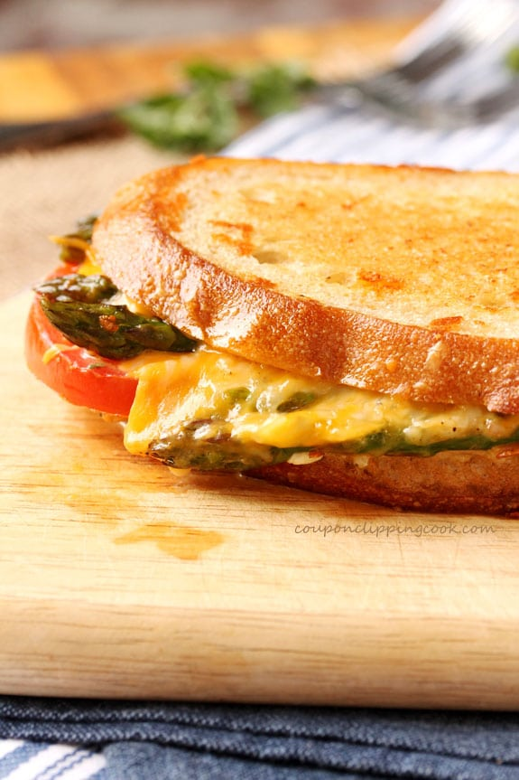 Roasted Asparagus and Tomato Garlic Bread Grilled Cheese on board