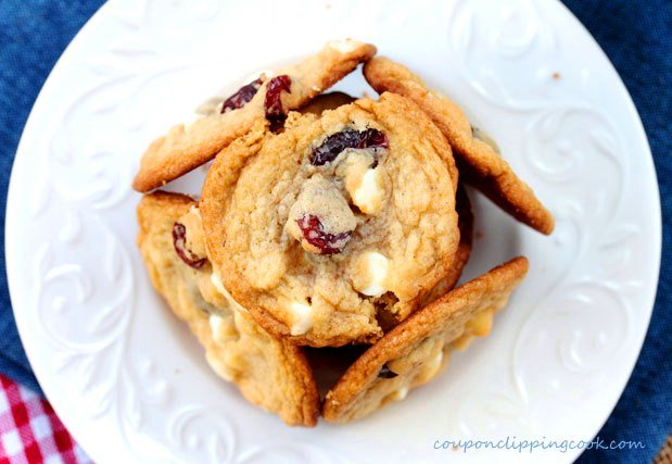 White Chocolate and Tart Cherry Cookies on plate