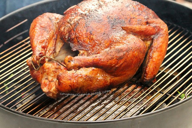 Cooked BBQ Turkey on Kettle Grill