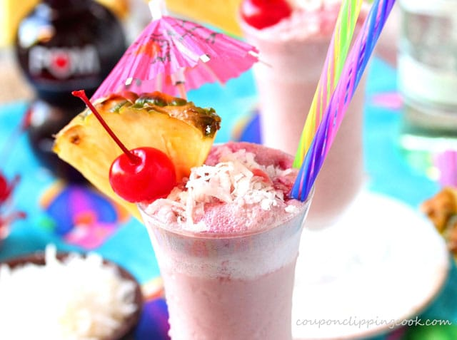 Pina Colada with Pomegranate Juice in a glass