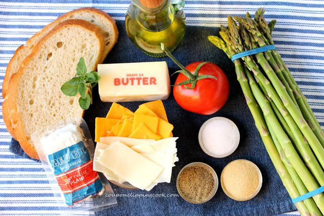 Roasted Asparagus and Tomato Garlic Bread Grilled Cheese ingredients