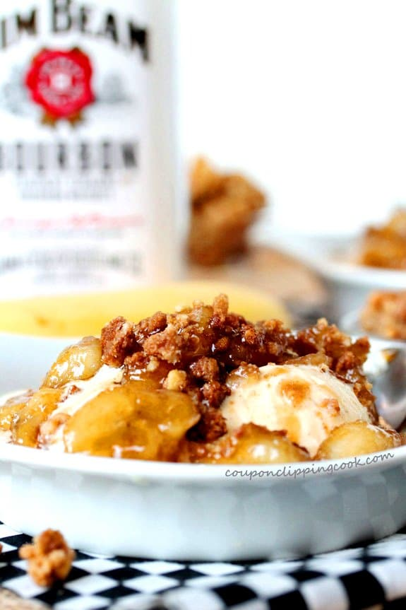 Bananas and Bourbon Dessert with Vanilla Ice Cream in bowl