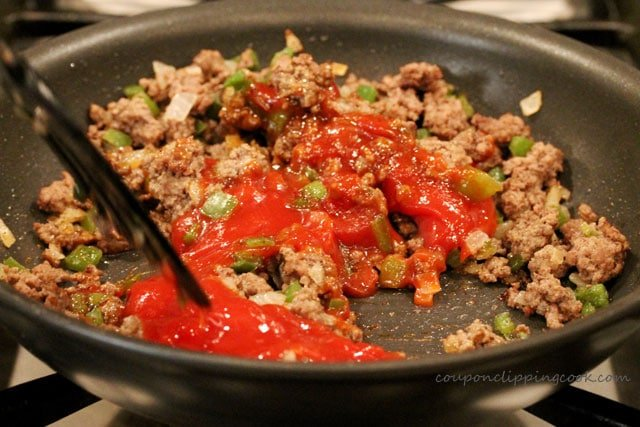 Stir sloppy joe ingredients in skillet