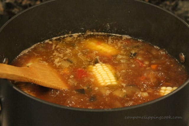 Stir Eggplant Supper Soup with Ground Beef in pot