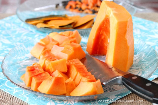 Cut pieces of Mexican papaya on plate
