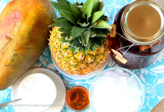 Mexican Papaya, Pineapple and Tea Smoothie ingredients