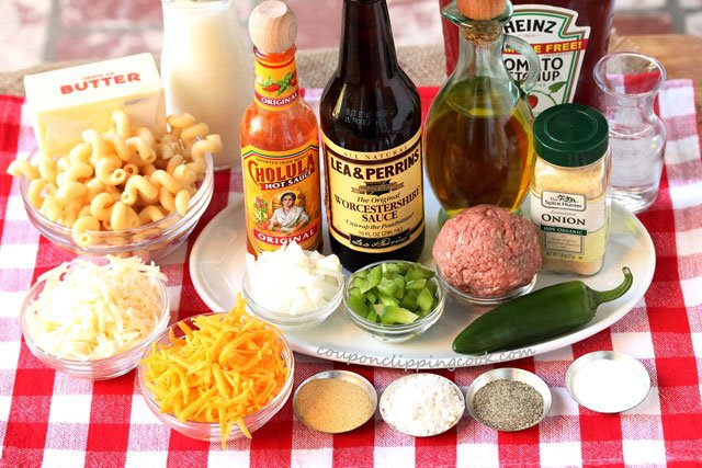 Sloppy Joe Macaroni and Cheese ingredients