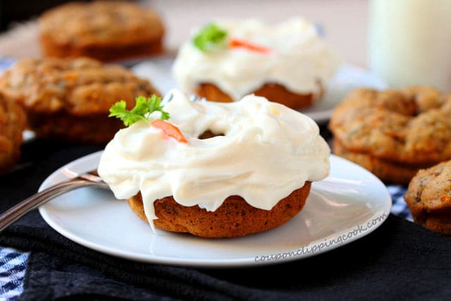 Carrot Cake Banana Bread Baked Doughnuts with frosting on plate