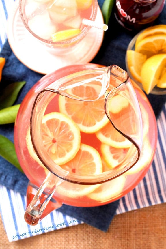 Pink Lemonade with Pomegranate Juice in Pitcher