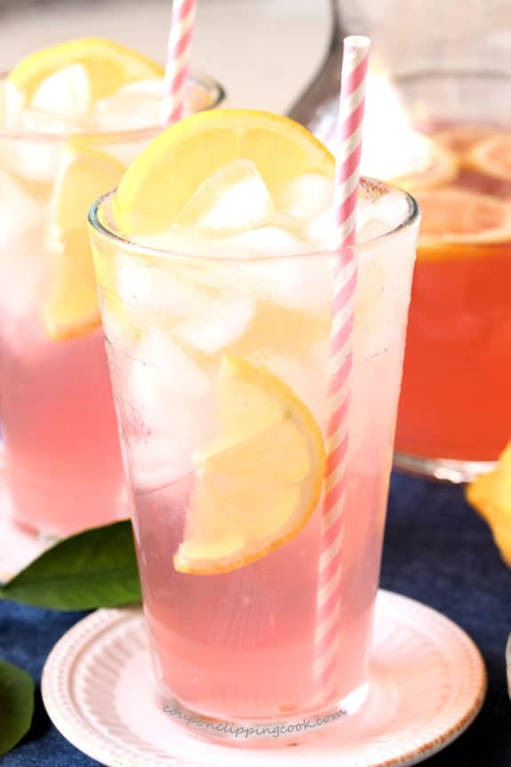 Pink Lemonade with Pomegranate Juice in glasses with straws