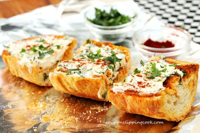 Cream Cheese Garlic Bread Toast on foil
