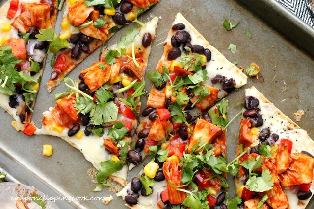BBQ Turkey Flatbread Pizza in pan