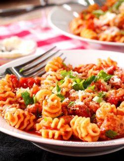 Italian Sausage and Pasta in Pan