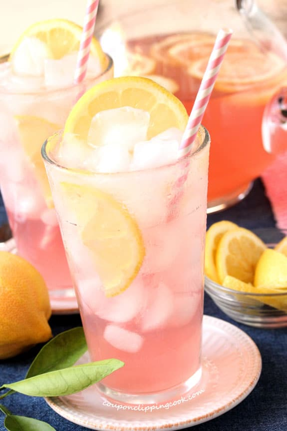 Pink Lemonade with Pomegranate Juice in glass with straw