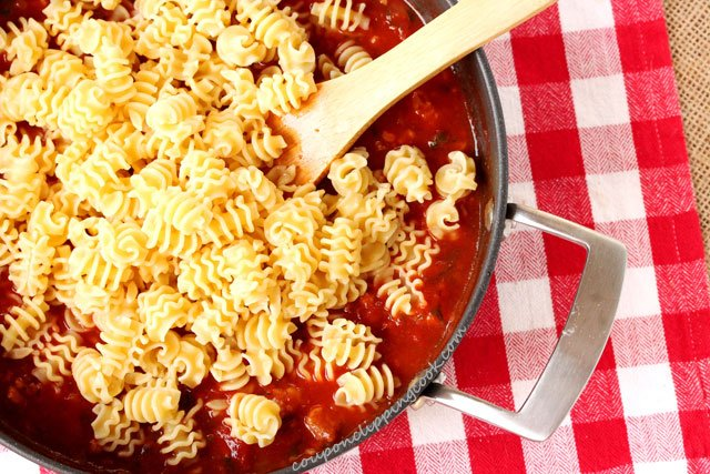 Italian Sausage and Radiatore Pasta with Sauce in pan
