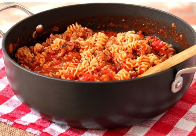 Marinara Pasta and Sausage in Pot