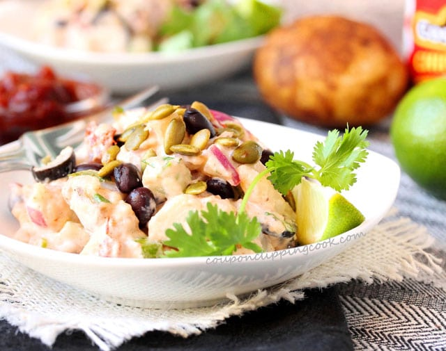 Chipotle Potato Salad with Black Beans in bowl