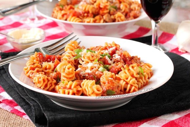 Italian Sausage and Radiatore Pasta in bowl