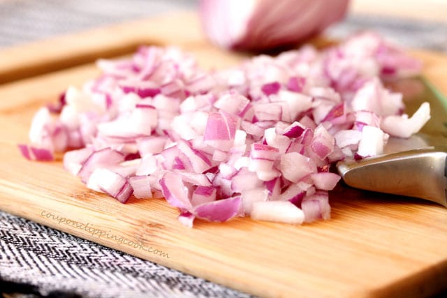 Cut red onions on cutting board