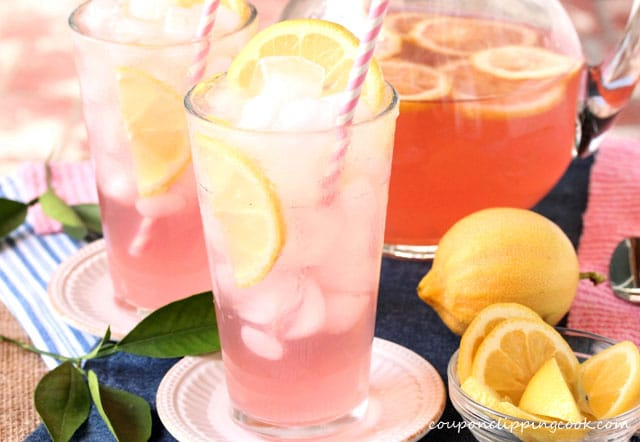 Pink Lemonade with Pomegranate Juice in glasses