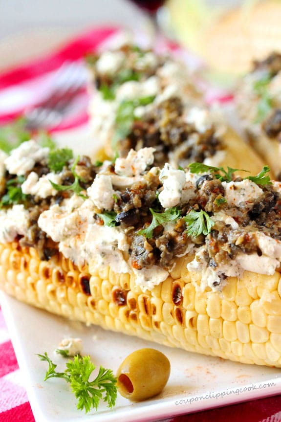 Grilled Corn with Tapenade Goat Cheese