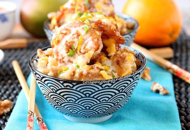 Mango and Orange Honey Walnut Shrimp in bowl
