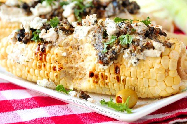 Grilled Corn with Cheese Olive Tapenade