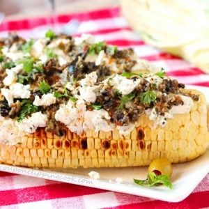 Goat Cheese Olive Tapenade on Corn