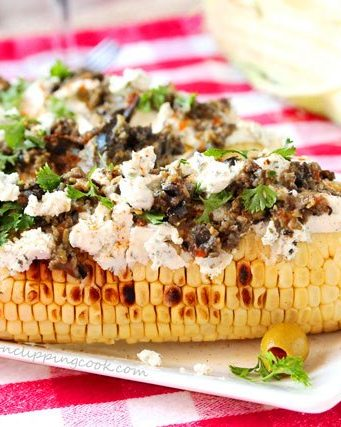 Grilled Corn with Goat Cheese and Olive Tapenade