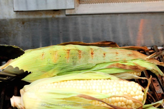 Corn on the cob on barbecue grill