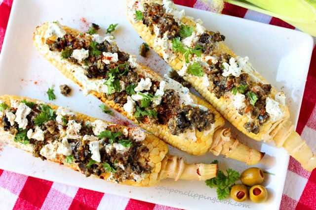 Grilled Corn with Cheese and Olive Tapenade