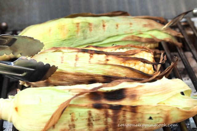 Ears of corn on barbecue grill