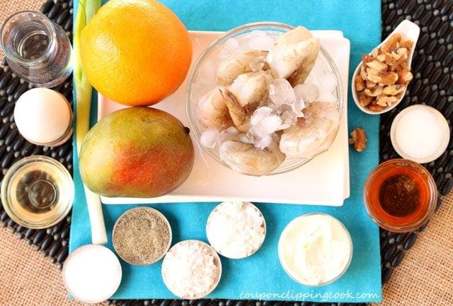Mango and Orange Honey Walnut Shrimp ingredients
