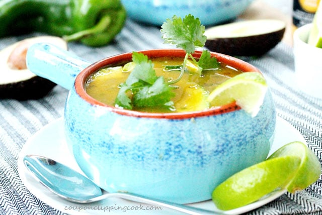 Cilantro Tortilla Soup in bowl