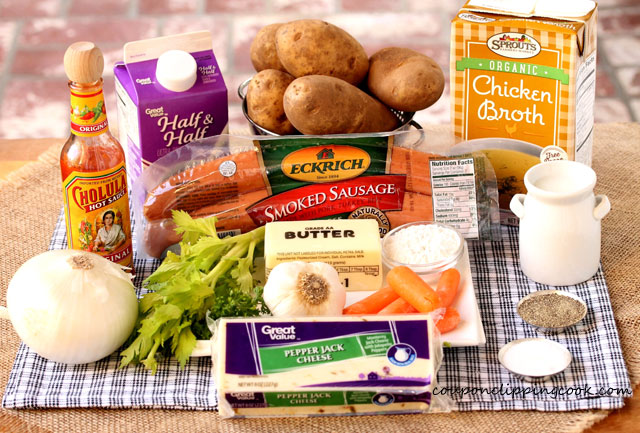 Slow Cooker Potato and Sausage Soup ingredients