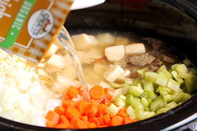 Pour broth in potato soup ingredients