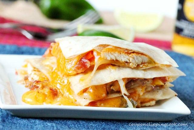 Chicken Fajita Quesadillas on plate