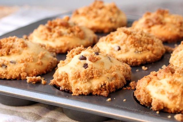 Banana Chocolate Chip Muffins in pan