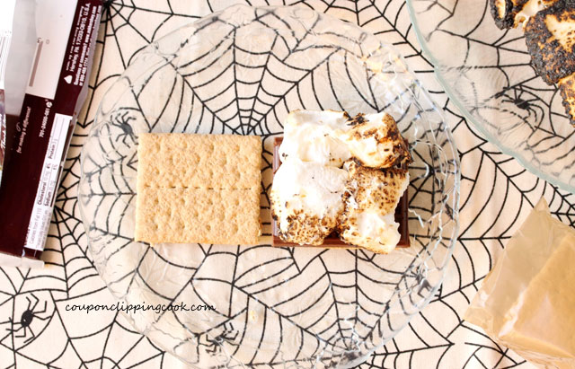 Graham crackers chocolate bar and marshmallow