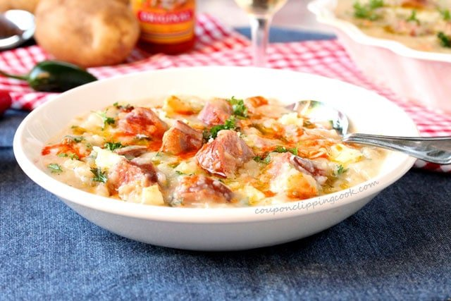 Slow Cooker Potato and Sausage Soup in bowl