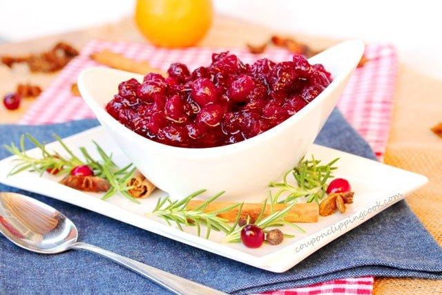Orange and Spice Whole Cranberry Sauce in bowl